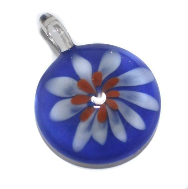 Glass Flower Pendant 46x35mm