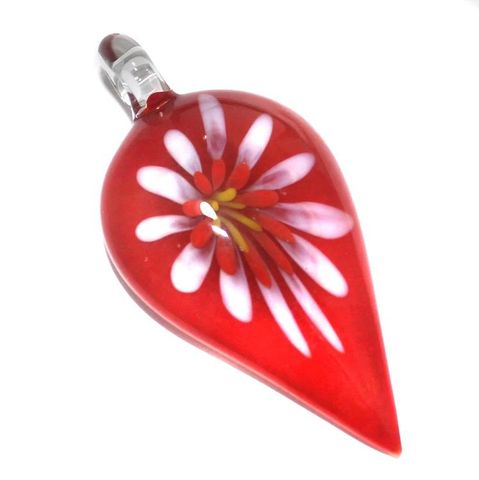 Glass Flower Pendant 63x30mm