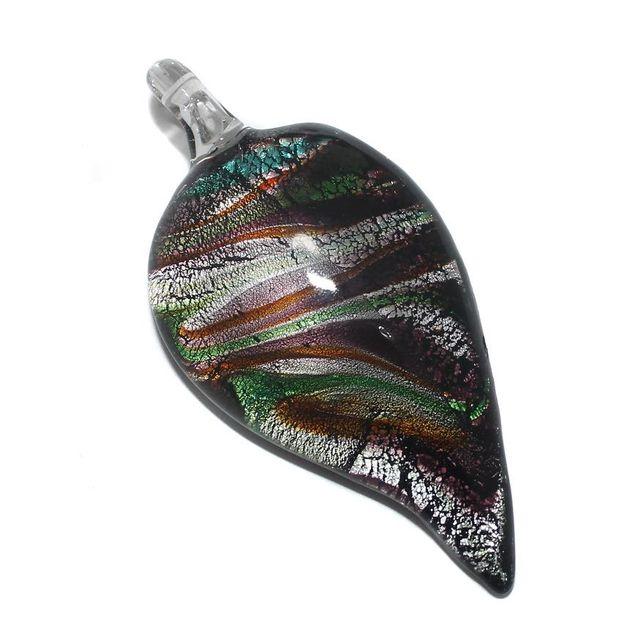 Glass Leaf Pendant 63x30mm