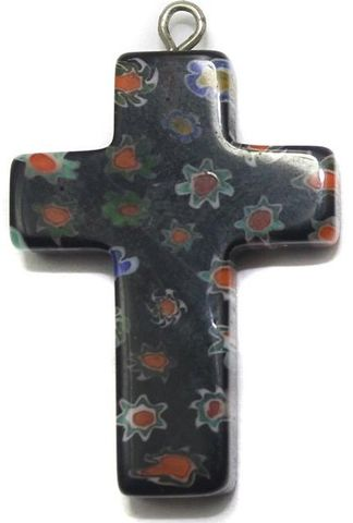 Millefiori Glass Cross Pendant Dark Purple 30x20 mm