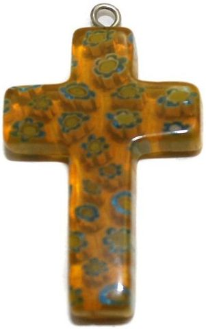 Millefiori Glass Cross Pendant Yellow 30x20mm