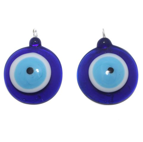 2 Glass Evil Eye Pendant Blue 36mm