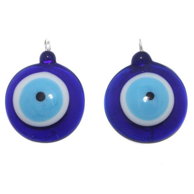2 Glass Evil Eye Pendant Blue 36mm