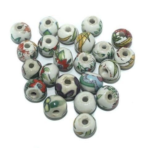 50 Pcs. Ceramic Round Beads Multi Color 15 mm