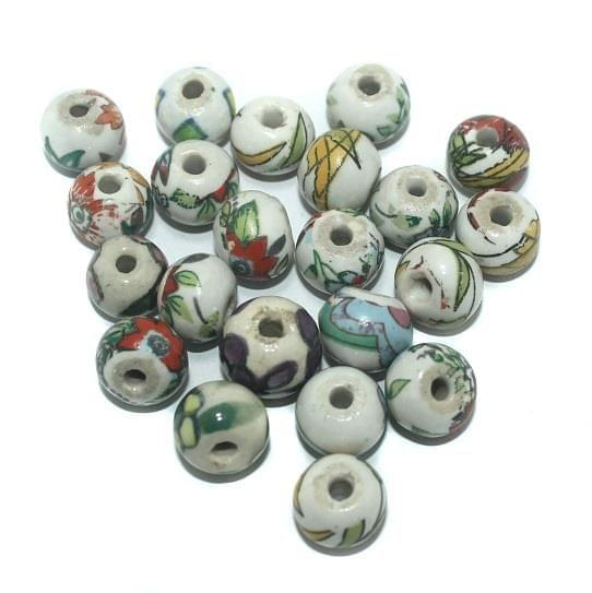 50 Pcs. Ceramic Round Beads Multi Color 15 mm