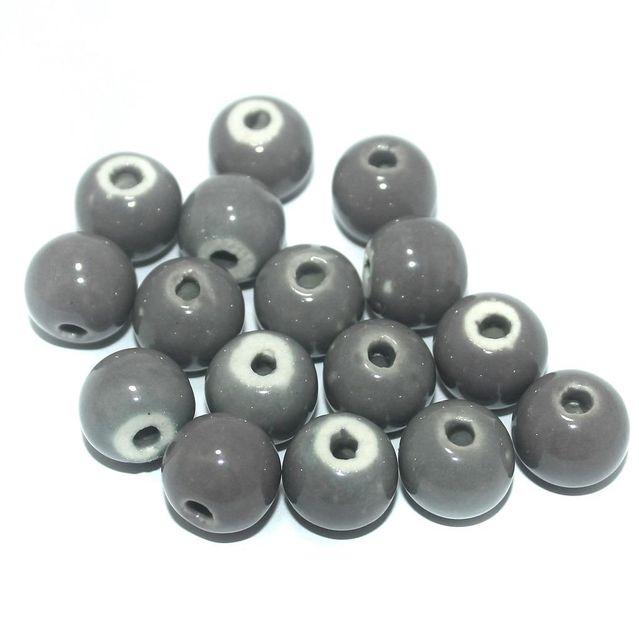 50 Pcs. Ceramic Round Beads Grey 13x11 mm