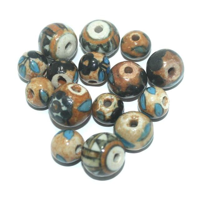 50 Pcs. Ceramic Round Beads Multi Color 17-9 mm