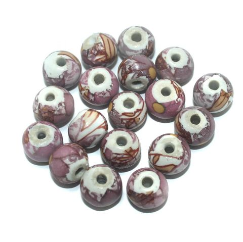 50 Pcs. Ceramic Round Beads Pink 14x11 mm