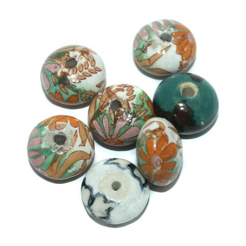 25 Pcs. Ceramic Roundell Beads Brown 26x14 mm