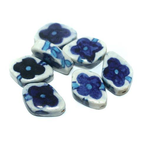 25 Pcs. Ceramic Beads Blue 25x18 mm