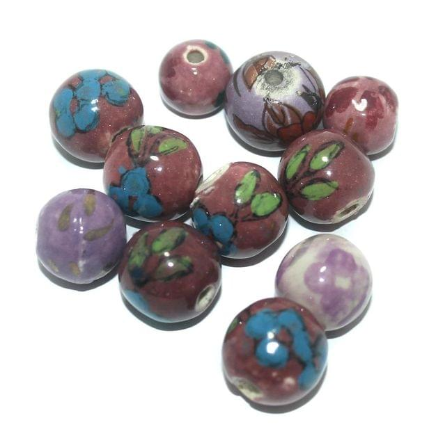 25 Pcs. Ceramic Round Beads Multi Color 19-13 mm