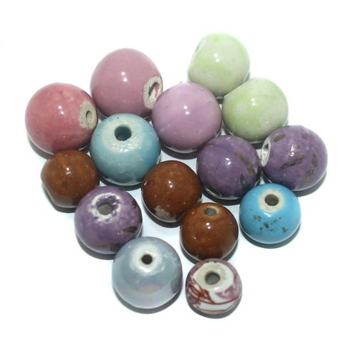 25 Pcs. Ceramic Round Beads Multi Color 17-13 mm