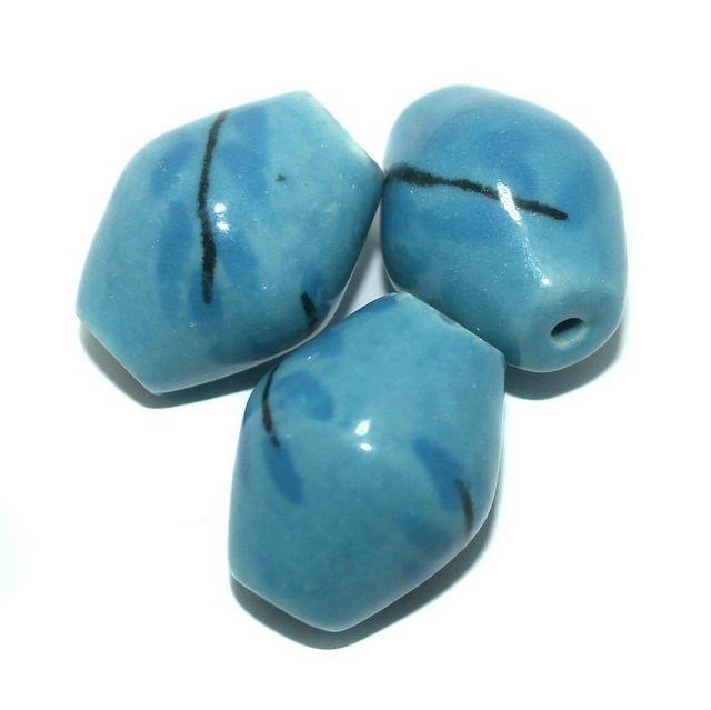10 Pcs. Ceramic Double Cone Beads Blue 32x27 mm