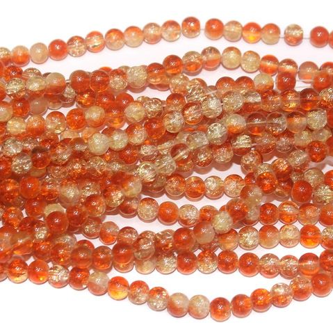 Two Tone Crackle Beads Round Orange 6mm 5 Strings