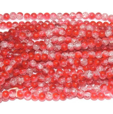 Two Tone Crackle Beads Round Red 6mm 5 Strings