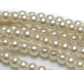 10 Strings Of glass pearl round beads off white 3mm