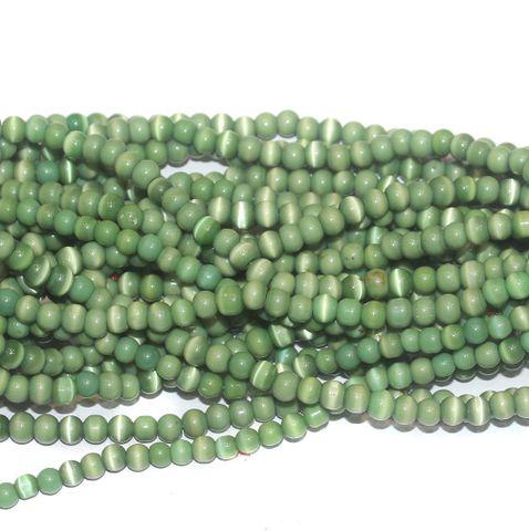 Cat's Eye Round Beads Light Green 6mm 10 Strings