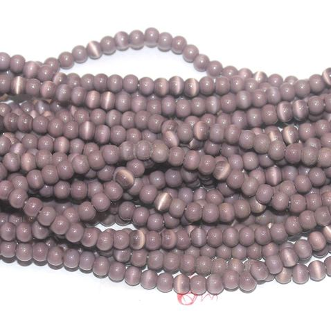 Cat's Eye Round Beads Purple 6mm 10 Strings