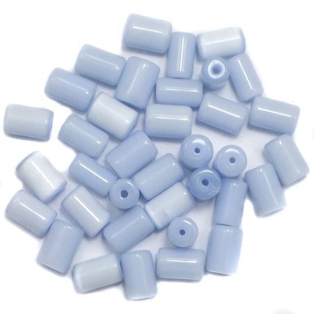 290+ Cat's Eye Tube Beads Light Blue 10x6mm