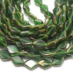 5 Strings Window Metallic Lining Flat Diamond Beads Green 11x8 mm
