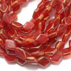 5 Strings Window Metallic Lining Flat Diamond Beads Red 11x8 mm