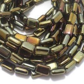 5 Strings Glass Metallic Rectangle Beads Golden 12x8 mm