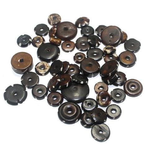 50 Bone Beads Donut Brown Assorted 8-18x2-6 mm