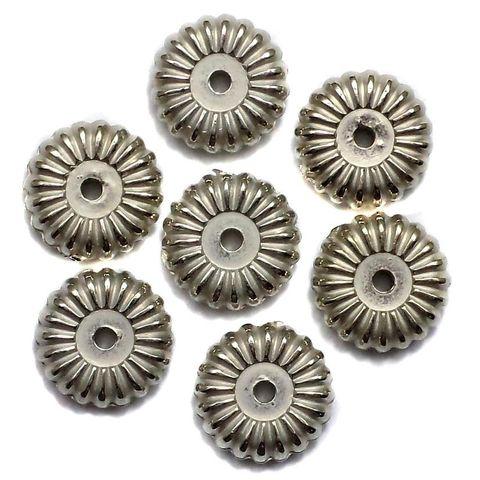200 CC Flat Round Beads Silver Finish 10mm