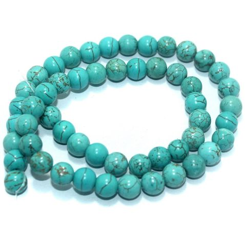50+ Synthetic Stone Round Beads Turquoise 8 mm