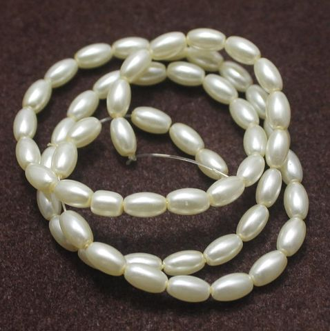 Glass Pearl Beads Oval Off White 7x4mm