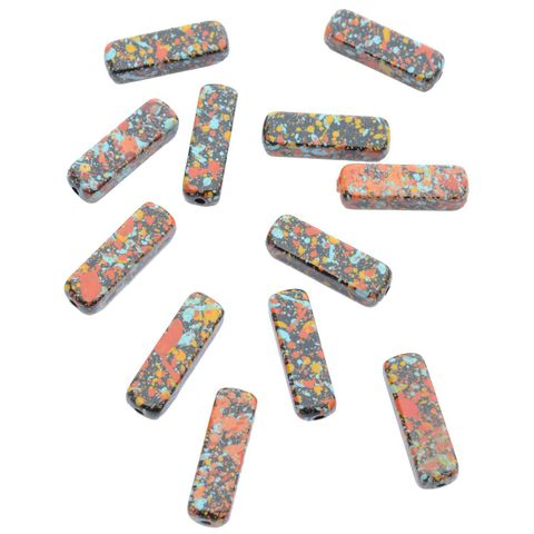 Buy 1 Get 1 FreeFoppish Mart Splash Printed Rectangular Multicolored Beads