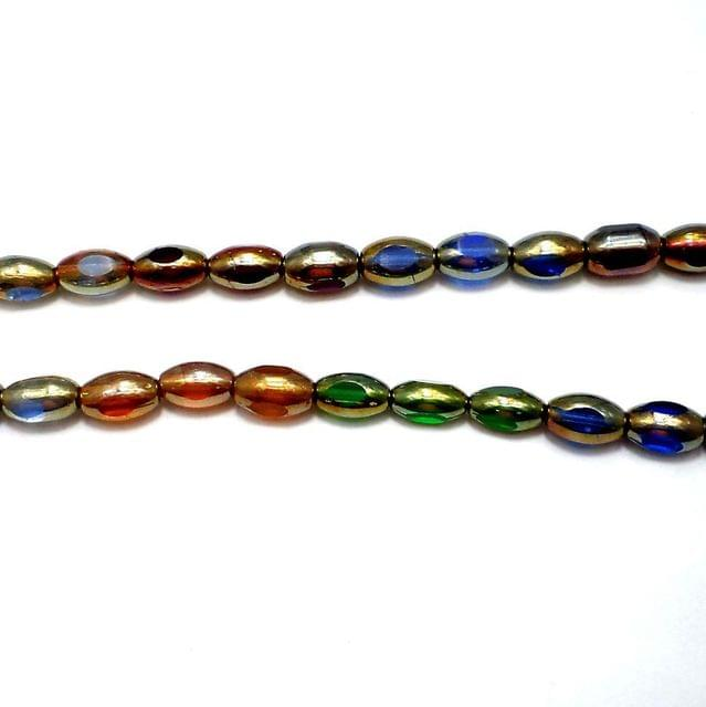 30+ Window Metallic Oval Beads Assorted Rainbow 12x8 mm