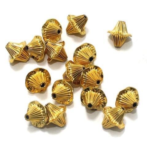 50 Liner Bicone Beads Golden 15 mm