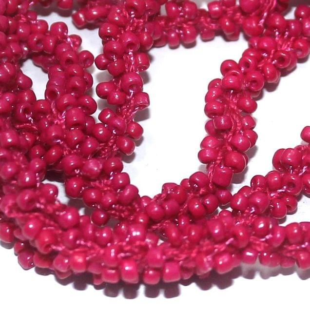 1 Mtr Opaque Hot Pink Seed Bead Beaded String For Necklace