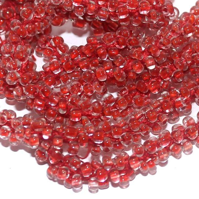 1 Mtr Trans Red Seed Bead Beaded String For Necklace