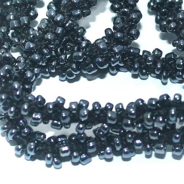 1 Mtr Metallic Black Seed Bead Beaded String For Necklace