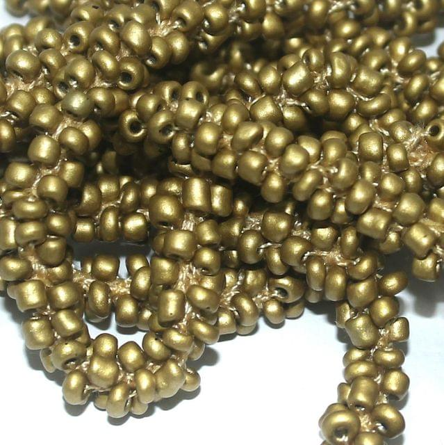 1 Mtr Metallic Golden Seed Bead Beaded String For Necklace