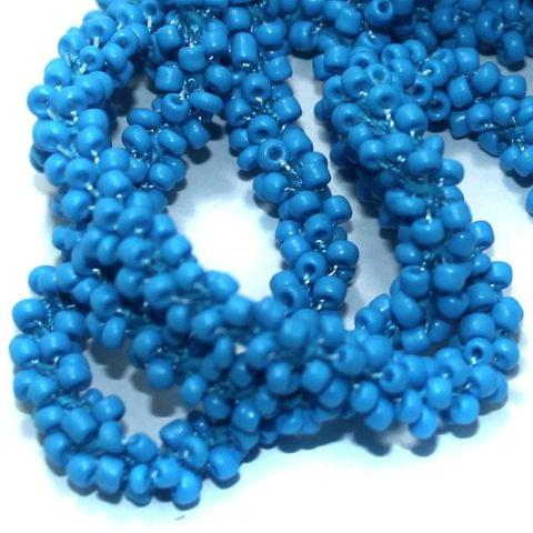 1 Mtr Opaque Sky Blue Seed Bead Beaded String For Necklace