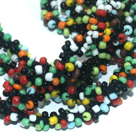 1 Mtr Opaque Multicolor Seed Bead Beaded String For Necklace
