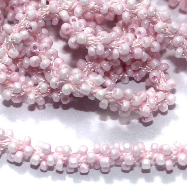 1 Mtr Luster Pink Seed Bead Beaded String For Necklace