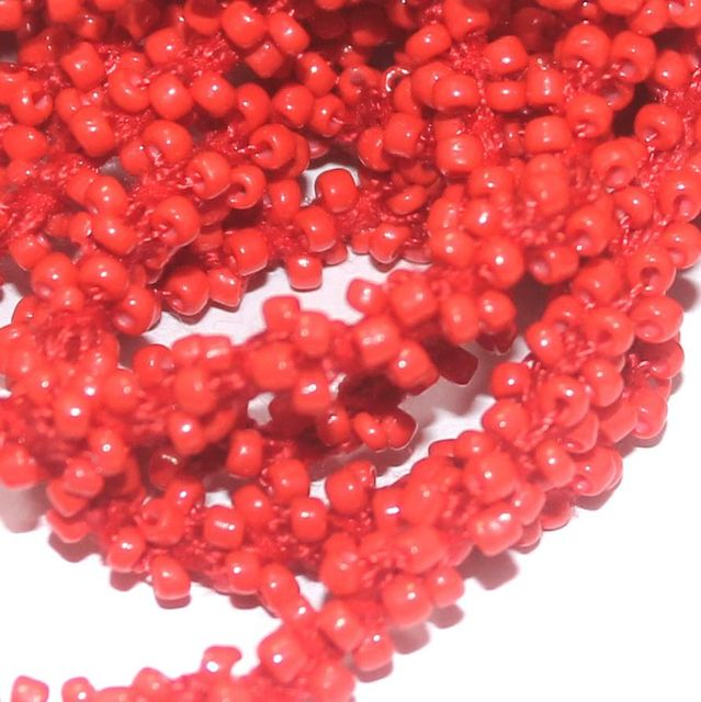 1 Mtr Opaque Red Seed Bead Beaded String For Necklace
