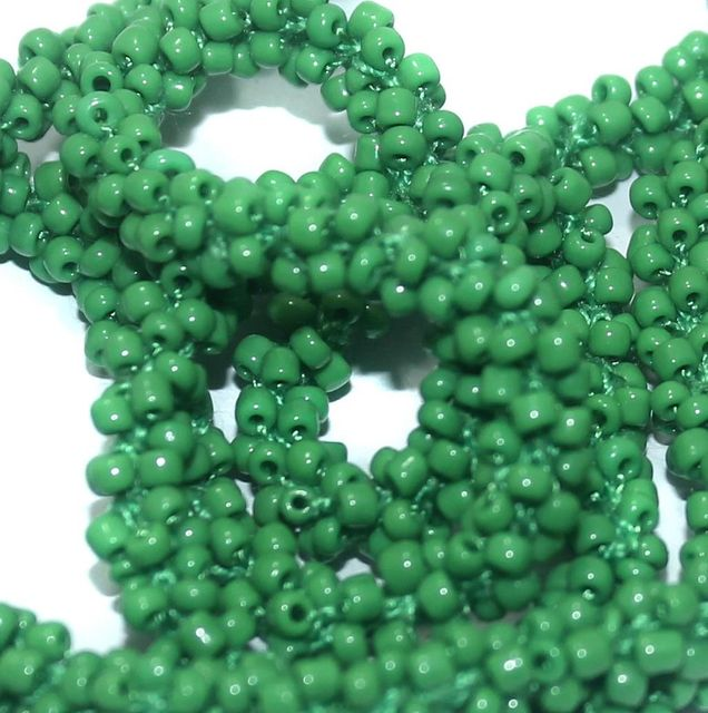 1 Mtr Opaque Green Seed Bead Beaded String For Necklace