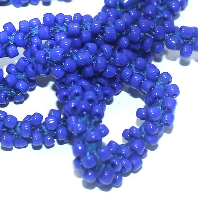 1 Mtr Opaque Blue Seed Bead Beaded String For Necklace