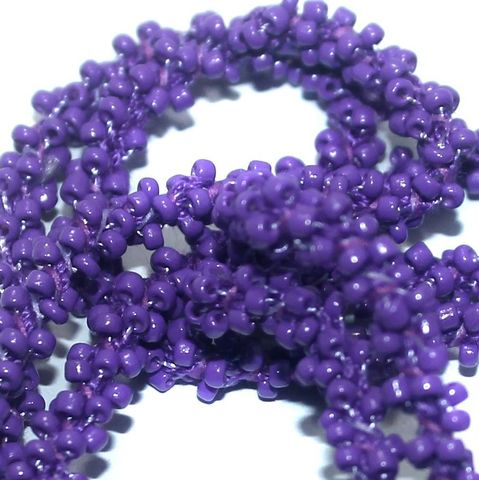 1 Mtr Opaque Purple Seed Bead Beaded String For Necklace