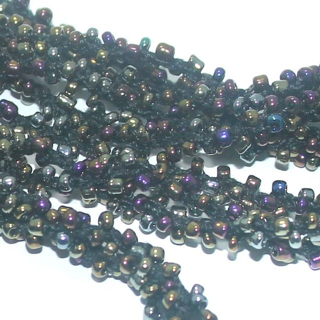1 Mtr Metallic Rainbow Seed Bead Beaded String For Necklace