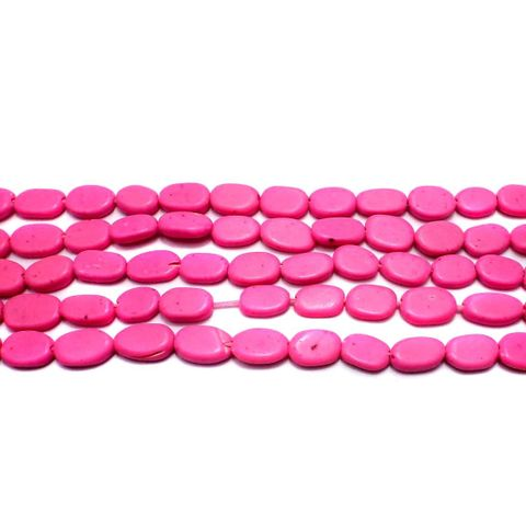 1 Strings Semiprecious Oval Beads Hot Pink 10x6 mm