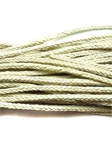 1 Mtr. Braided Leather Cord White 5mm