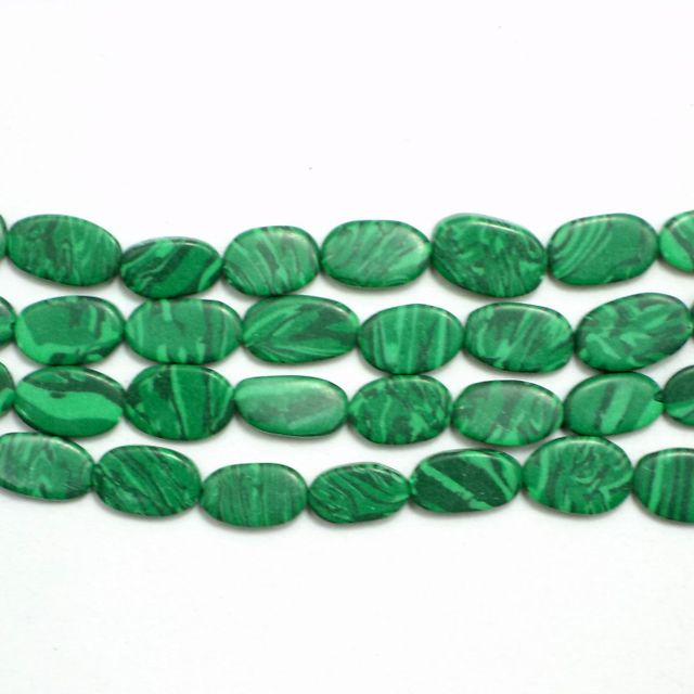 1 Strings Semiprecious Oval Beads Green 10X6mm