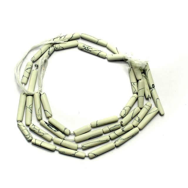 1 Strings Semiprecious Tube Beads White 16X3mm