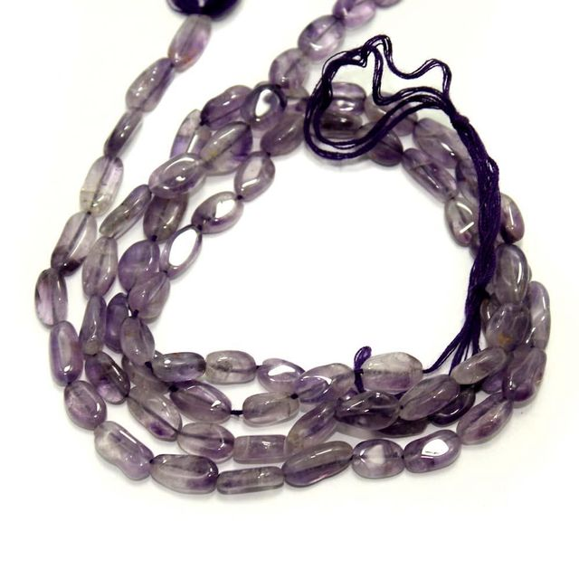1 Strings Semiprecious Twisty Oval Beads Purple 10X5 mm